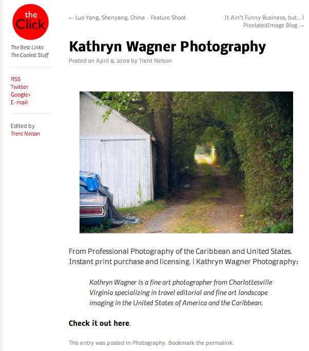 "Kathryn's travel photography featured on ""The Click"""