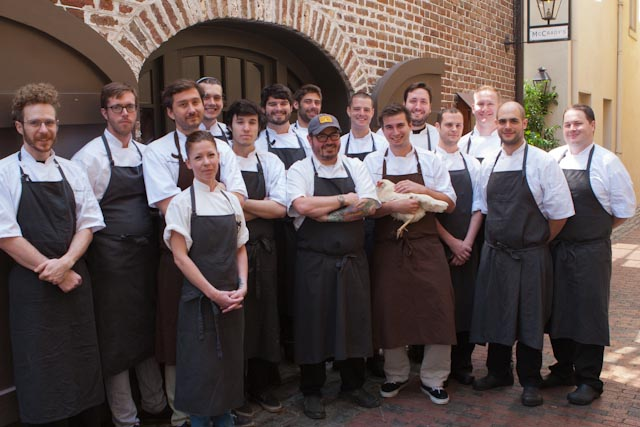 Professional chef portraits of McCrady's Restaurant: Chef Sean Brock and his team