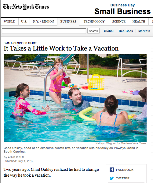 "Published: New York Times ""It Takes a Little Work to Take a Vacation"""
