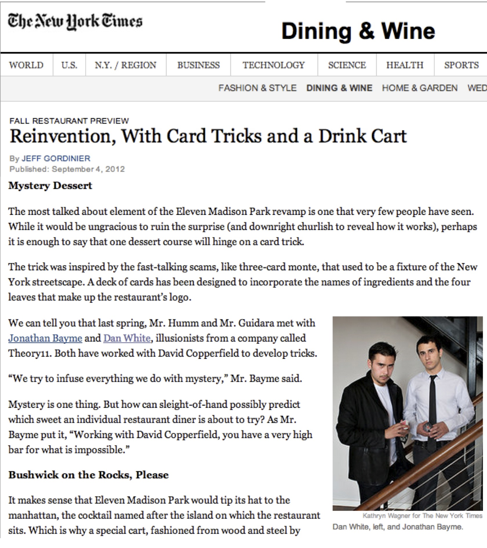 New York Times Dining and Wine: At Eleven Madison Park, A Reinvention